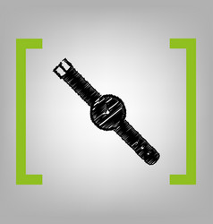 watch sign black scribble vector image