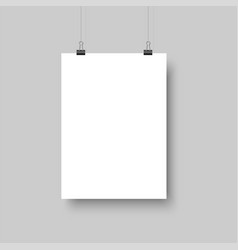 white blank poster hanging with shadows vector image