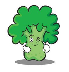 Wink broccoli chracter cartoon style vector
