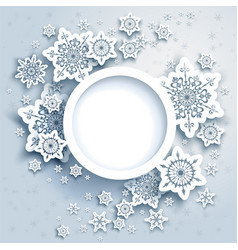 Winter snowflakes card paper vector