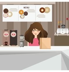 Woman female customer smile in cafe with donuts vector