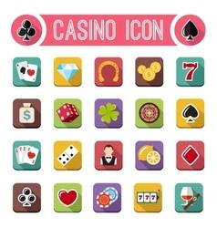 casino flat icons slot machine vector image vector image