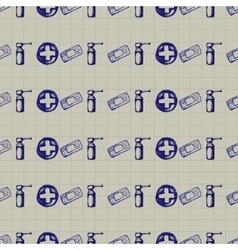 doodle seamless Medicine icons vector image vector image