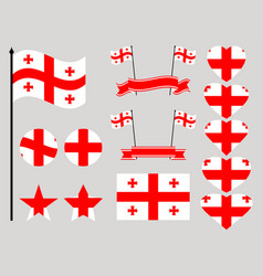 georgia flag set collection of symbols heart vector image vector image