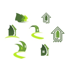 Green ecological symbols vector image vector image