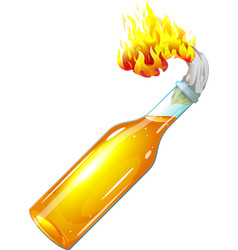 Molotov cocktail with burning rag vector image vector image