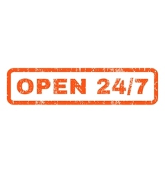 Open 24-7 Rubber Stamp vector image vector image