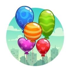 with cute cartoon balloons vector image