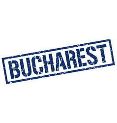 Bucharest blue square stamp vector