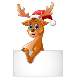 cartoon deer hold blank sign vector image vector image