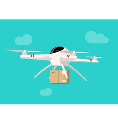 Drone flying in sky with parcel box delivery vector image