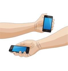 Hand holding a smartphone isolated vector image vector image