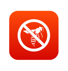 no wasp sign icon digital red vector image