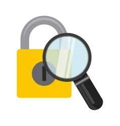 padlock and magnifying glass vector image