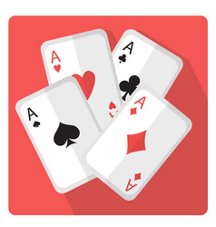 playing cards with aces icon flat style with long vector image vector image
