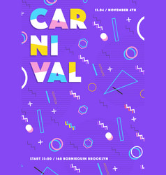 purple carnival poster abstract memphis 80s 90s vector image vector image