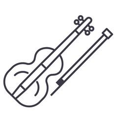 violin line icon sign on vector image