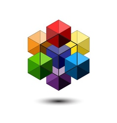 Blue Cubes and Red Ball Logo vector image vector image