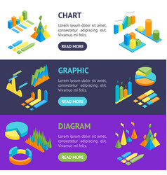 charts and graphs banner horizontal set 3d vector image