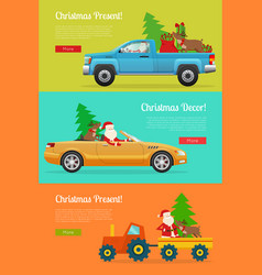 Christmas present web banner with santa vector