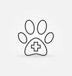 dog paw with cross inside icon vector image vector image