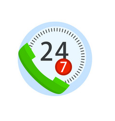 online call center handset support isolated on vector image