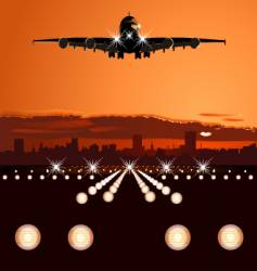 airliner landing at skyline vector image vector image