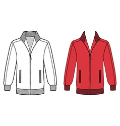 Long sleeve jacket with zipper outlined template vector