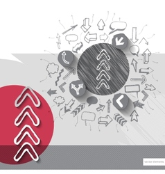 Paper and graphic arrows with icons background vector image