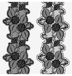 Set of seamless floral lace ribbons Vertical vector image