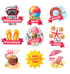 sketch colored summer vacation labels set vector image vector image