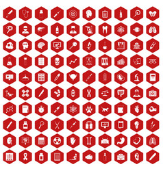 100 diagnostic icons hexagon red vector