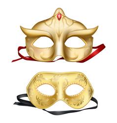 3d realistic face masks venetian carnivals vector image