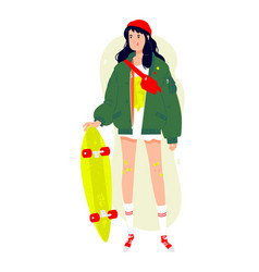 A fashionable girl with a longboard brunette in vector
