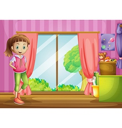 A girl inside house with her toys vector
