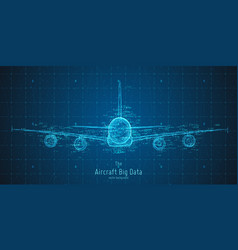 abstract plane big data graph visualization vector image
