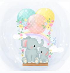 Adorable elephant motherhood vector