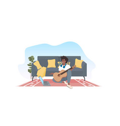 african american man learning to play guitar using vector image