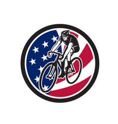 american cyclist cycling usa flag icon vector image