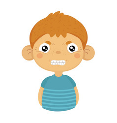 angry cute small boy with big ears in blue t-shirt vector image