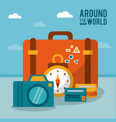 Around the world suitcase photo camera clock vector