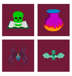 Assembly flat halloween spider book vector