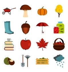 Autumn icons set flat ctyle vector