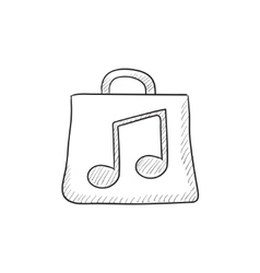 Bag with music note sketch icon vector image