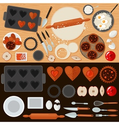 Bakery Sweets Set with Ingredients vector
