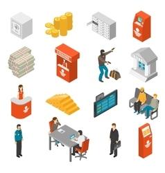 Bank Isometric Icons Set vector