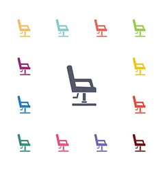 Barber chair flat icons set vector
