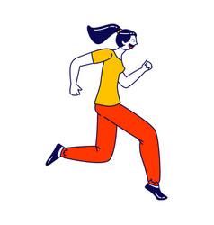 beautiful woman character running jogging vector image