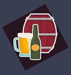 beer barrel wooden with bottles vector image