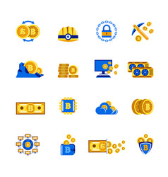 bitcoin cryptocurrency mining icons for vector image